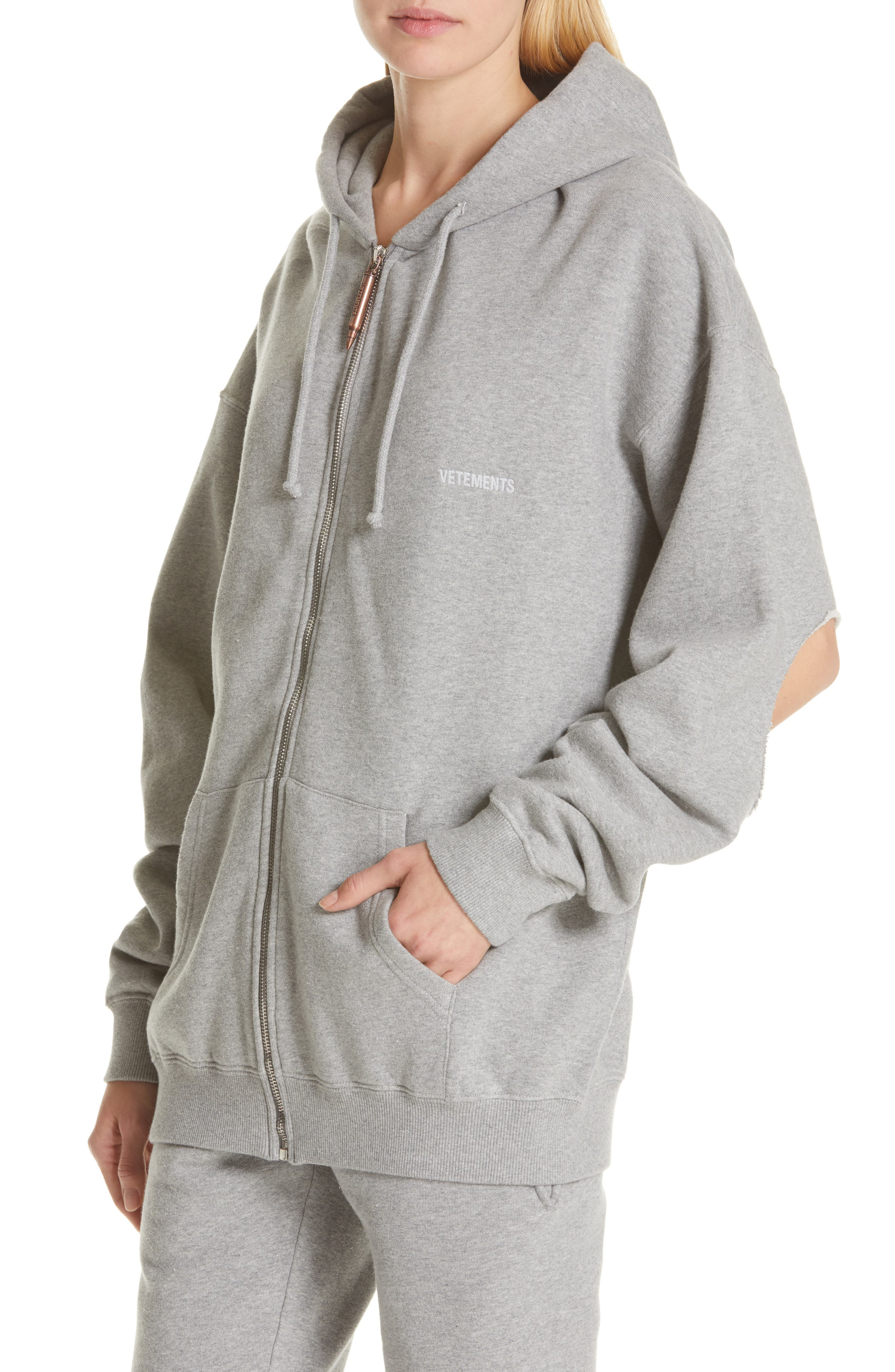 ,                             Elbow Cutout Hoodie,                             Alternate thumbnail 5, color,                             GREY