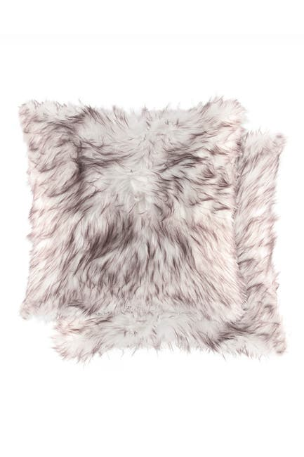 """Image of LUXE Belton Faux Fur Pillow - Set of 2 -18"""" x 18"""" - Gradient Chocolate"""
