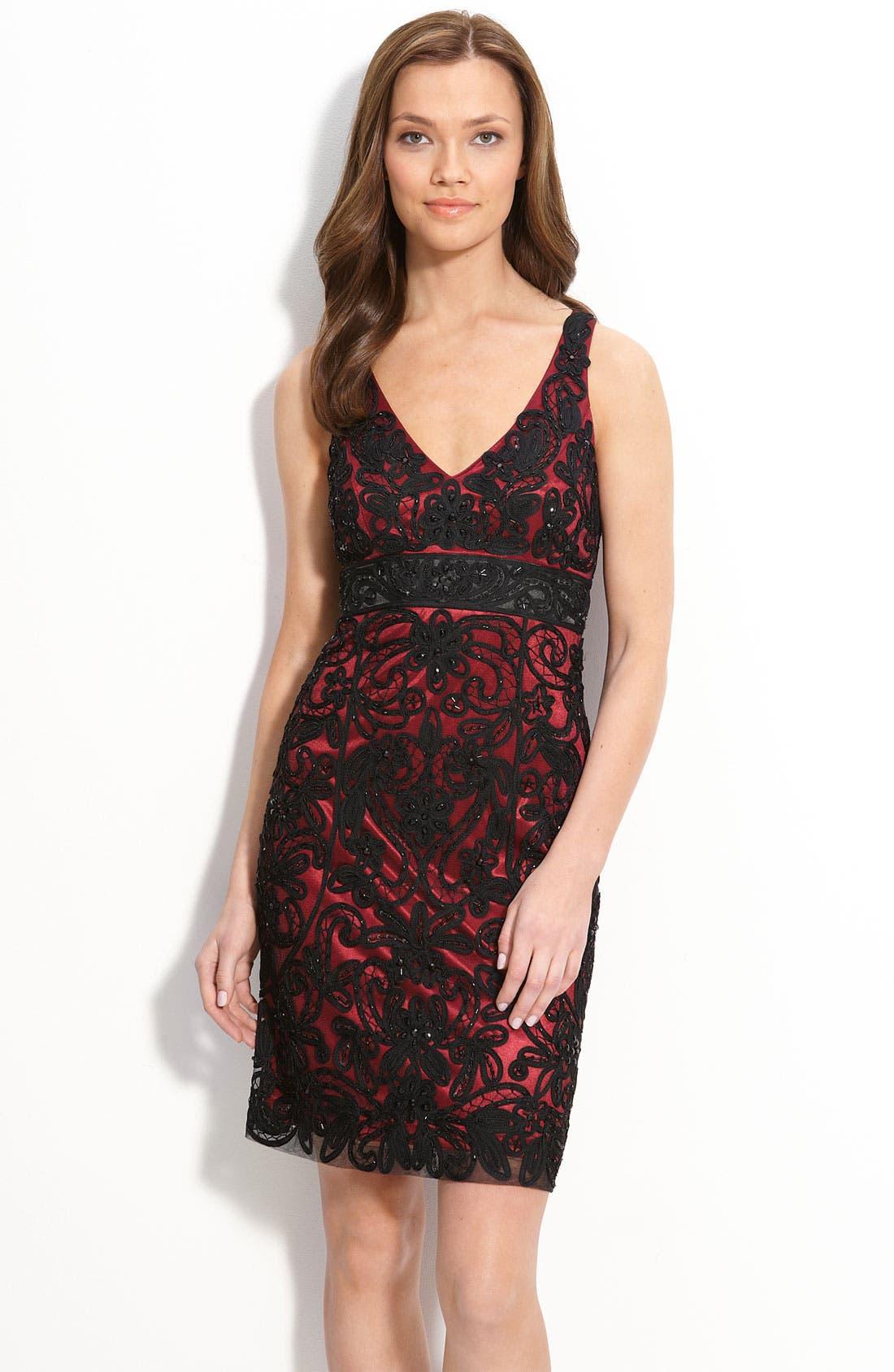,                             Ribbon Trim Illusion Dress,                             Main thumbnail 3, color,                             002