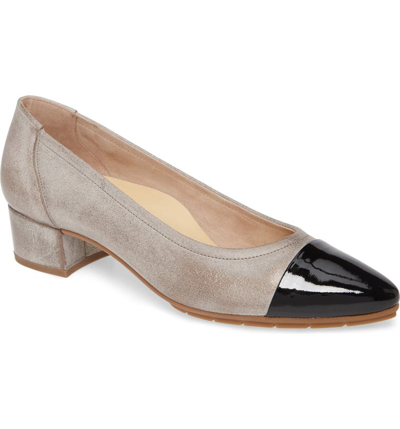 PAUL GREEN Chrissy Cap Toe Pump, Main, color, NERO COMBO