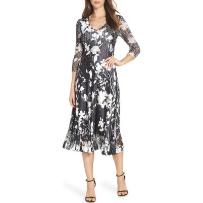 Petite Komarov Sheer Sleeve Floral Print Charmeuse A-Line Dress, Black
