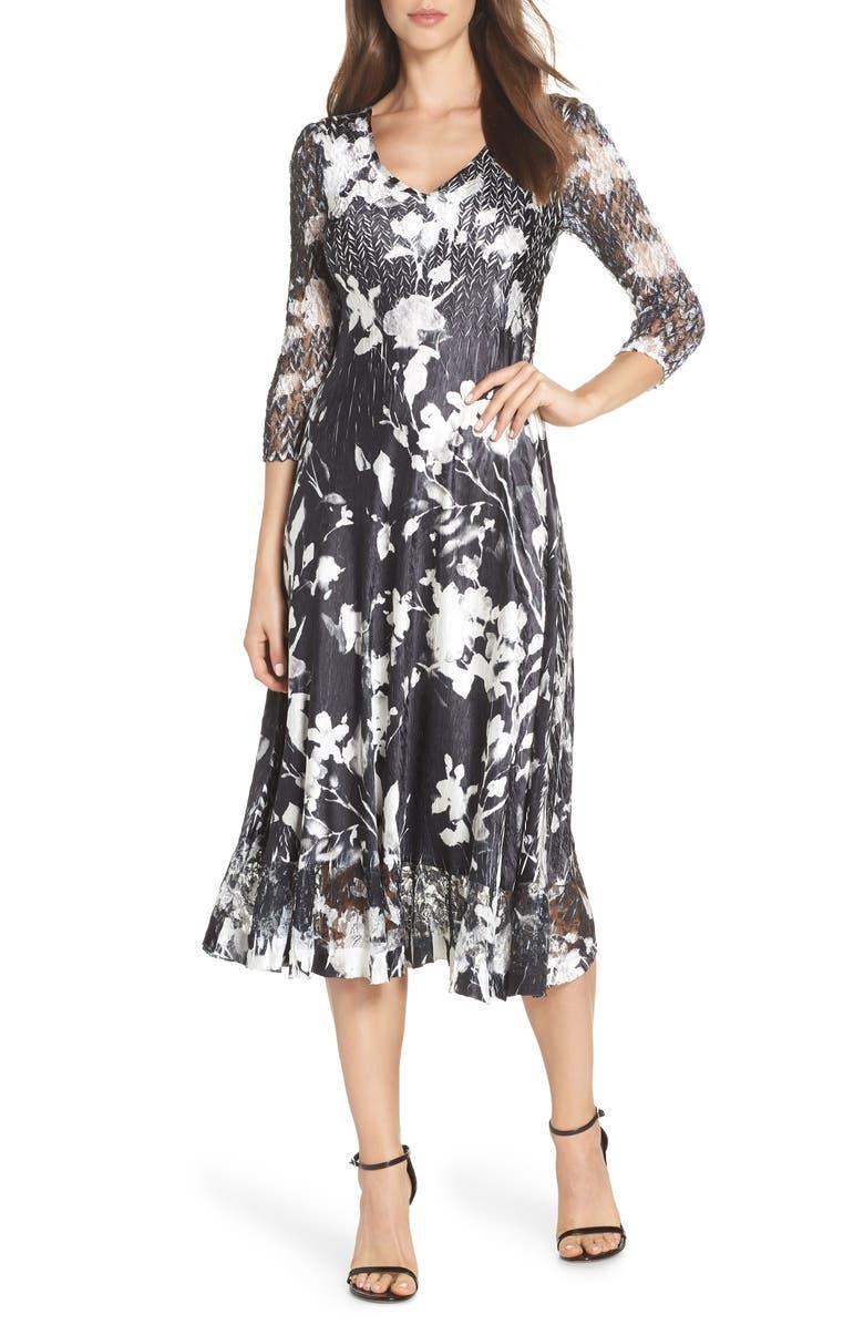 KOMAROV Sheer Sleeve Floral Print Charmeuse A-Line Dress, Main, color, 001