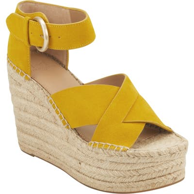 Marc Fisher Ltd Amari Ankle Strap Espadrille Wedge- Yellow