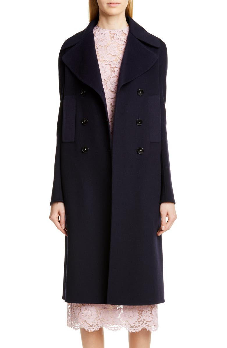 VALENTINO Double Face Cashmere Coat, Main, color, NAVY