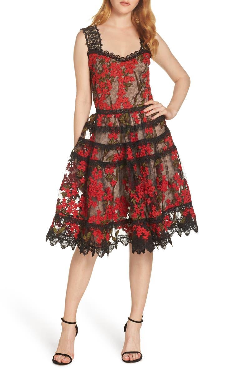 BRONX AND BANCO Elsa Sleeveless Lace Fit & Flare Dress, Main, color, MULTI COLOR