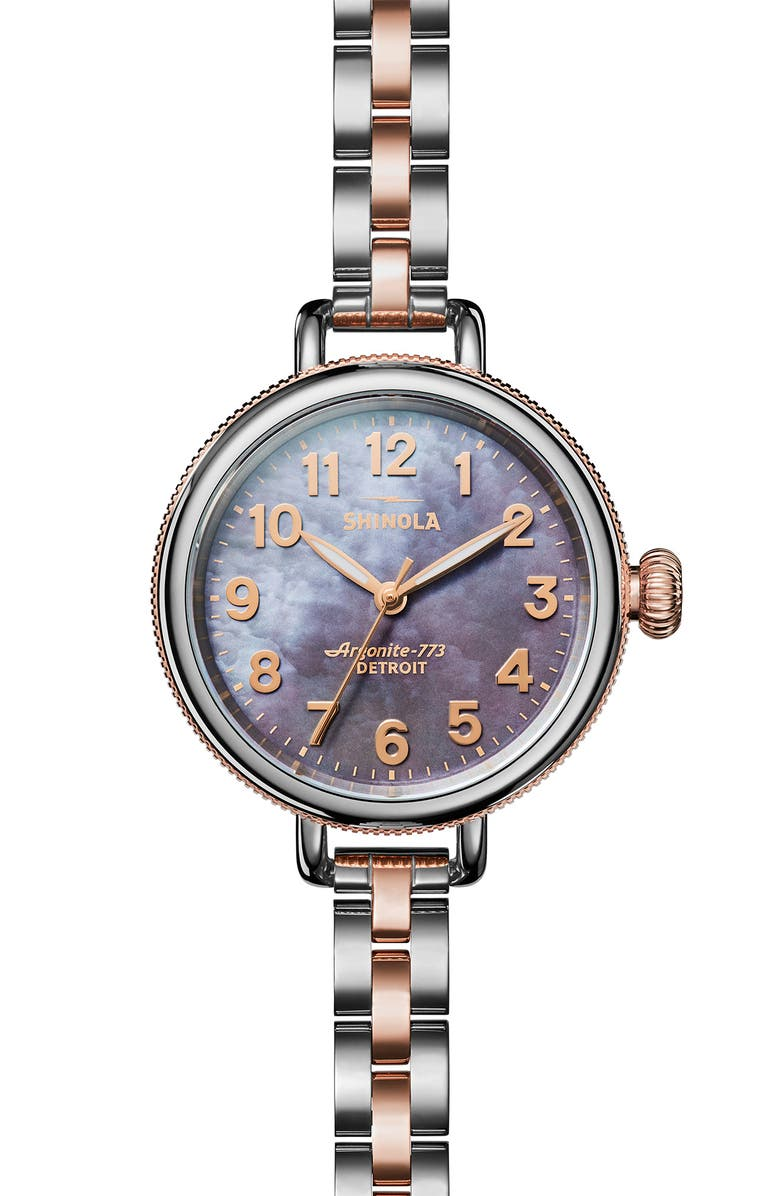 SHINOLA 'The Birdy' Bracelet Watch, 34mm, Main, color, SILVER/ LILAC/ ROSE GOLD