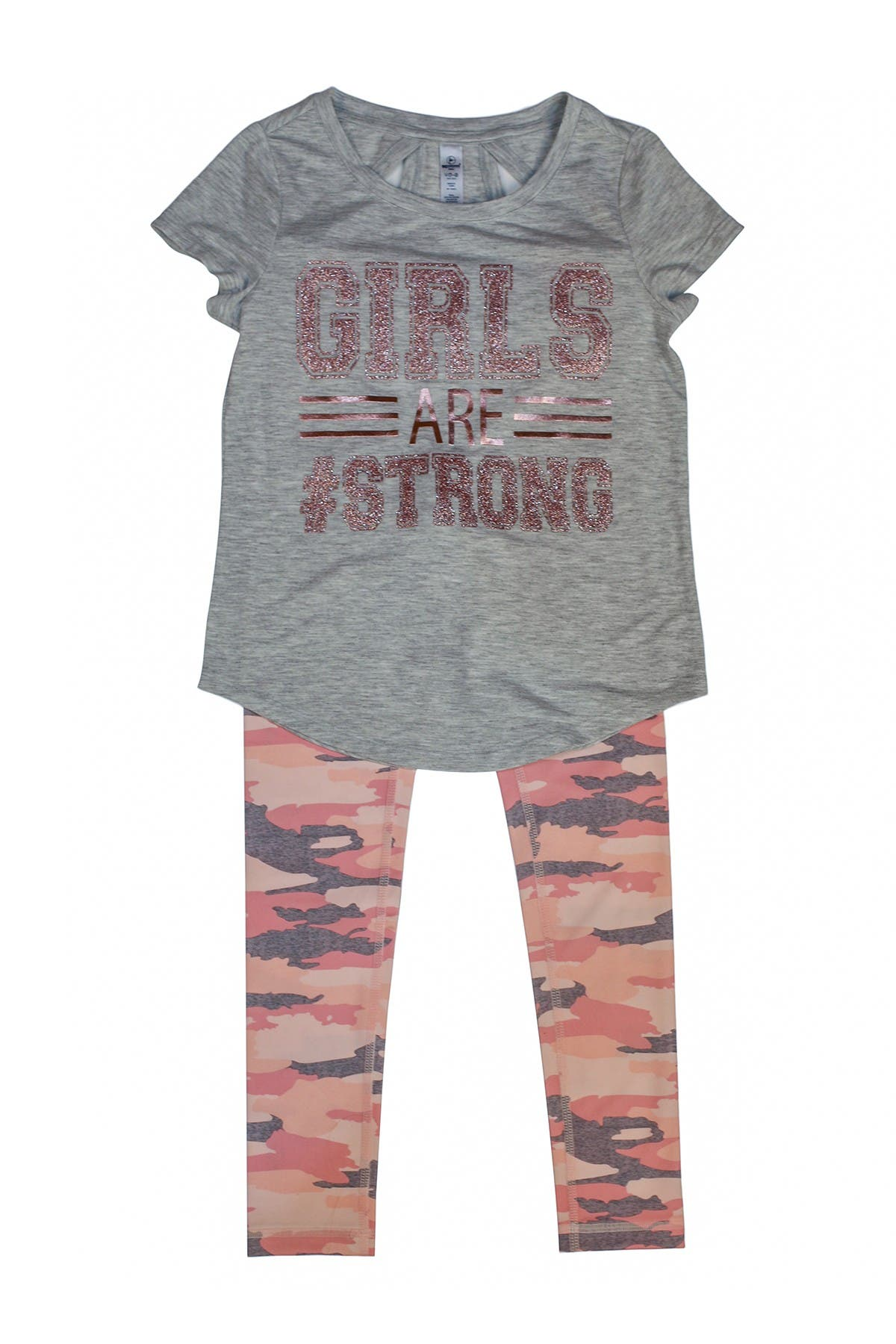 Image of 90 Degree By Reflex High Low Short Sleeve Top & Printed Legging Set