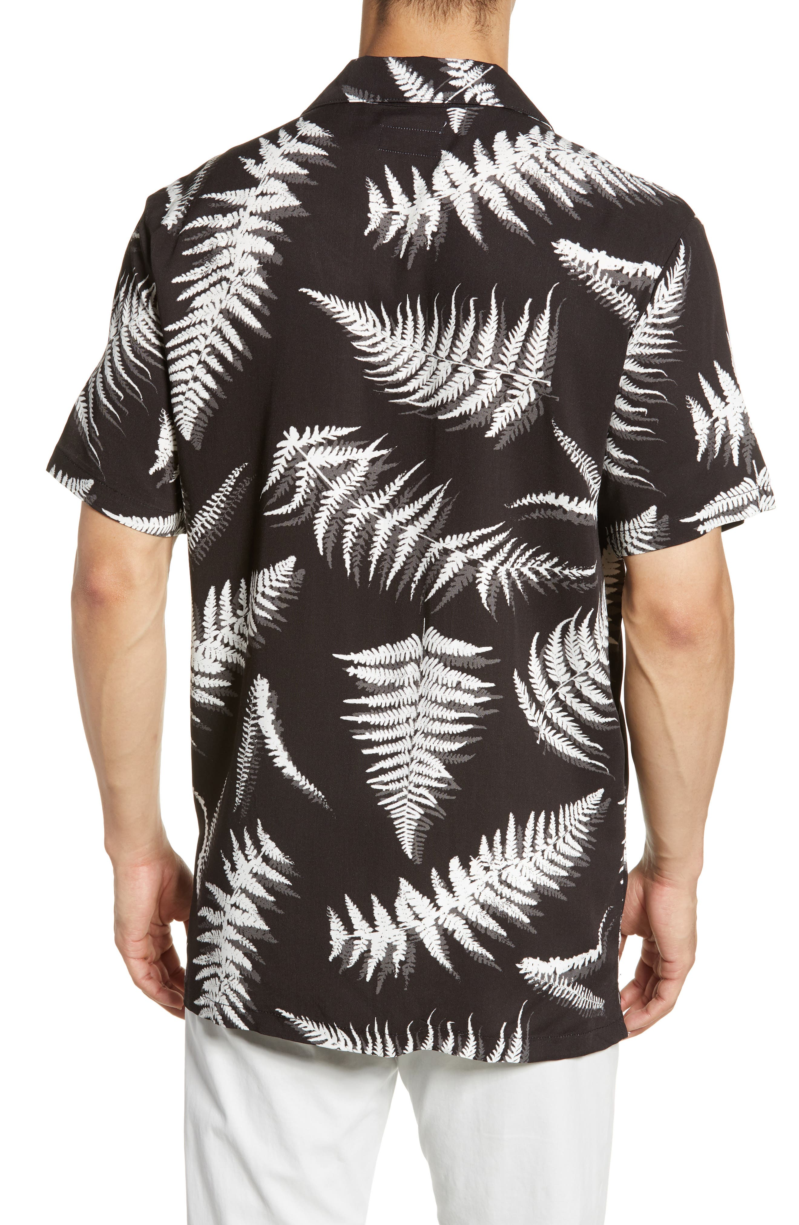 ,                             Fern Leaves Vacation Shirt,                             Alternate thumbnail 3, color,                             BLACK