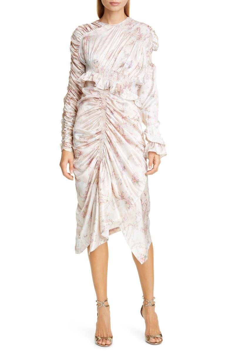 PREEN BY THORNTON BREGAZZI Dakota Long Sleeve Satin Cocktail Dress, Main, color, PLASTIC GARDEN