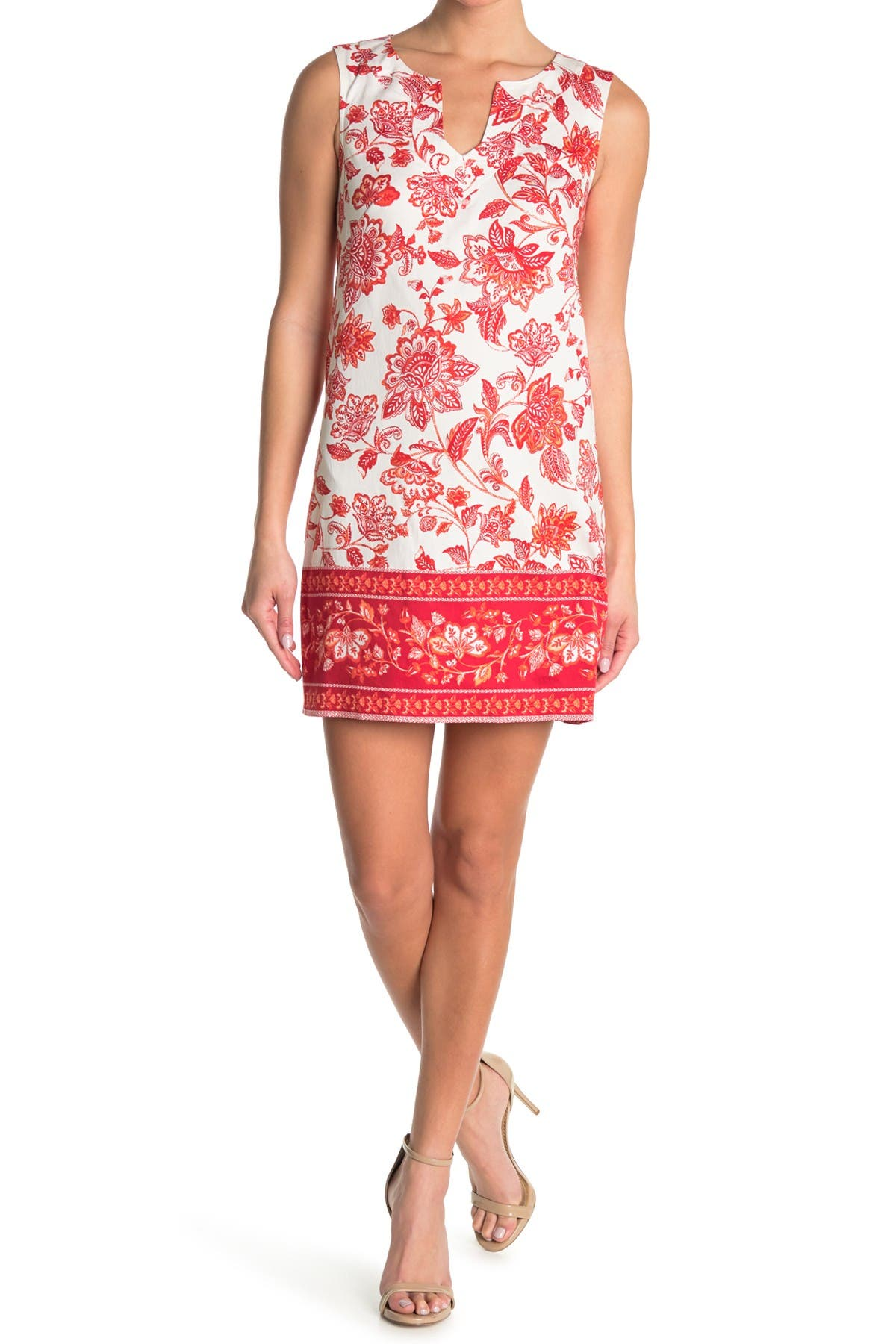Image of London Times Floral Print Shift Dress
