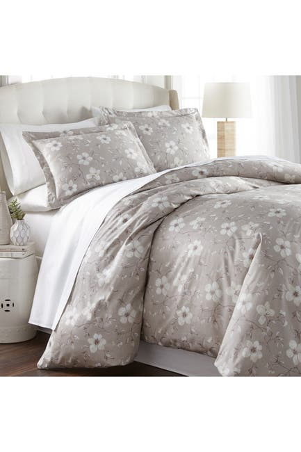 Image of SOUTHSHORE FINE LINENS King/California King Ultra-Soft 300 Thread-Count Cotton Duvet Cover Sets - Floral Taupe/Grey