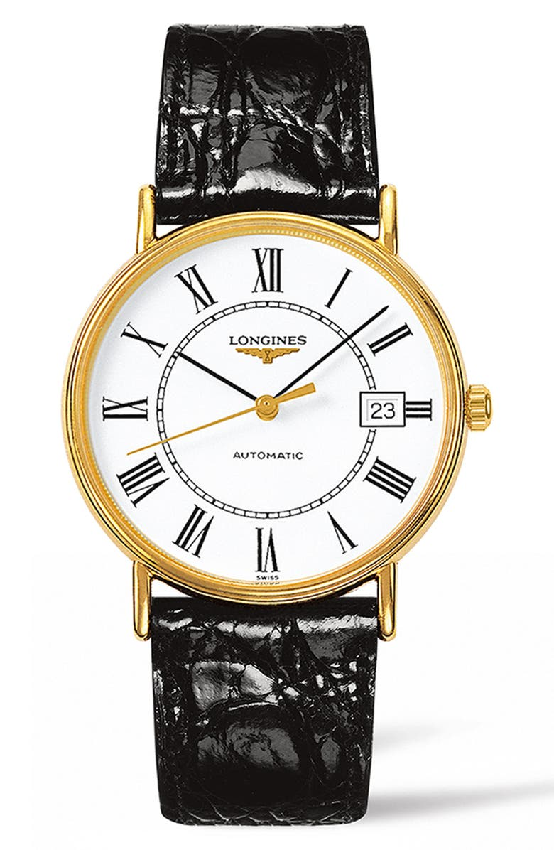 LONGINES Présence Automatic Leather Strap Watch, 38.5mm, Main, color, BROWN/ WHITE/ GOLD