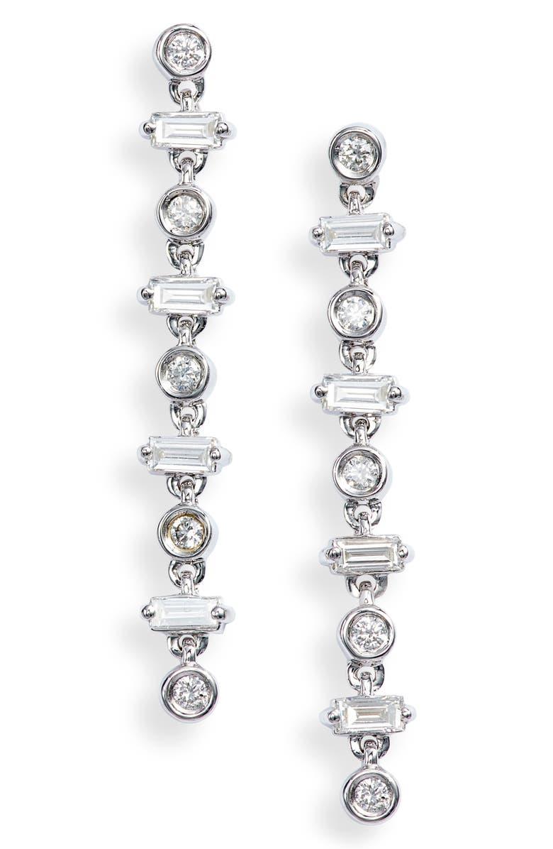 DANA REBECCA DESIGNS Sadie Linear Diamond Earrings, Main, color, WHITE GOLD