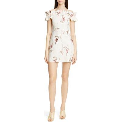 Rebecca Taylor Ivie Off The Shoulder Embroidered Detail Linen Dress, Ivory