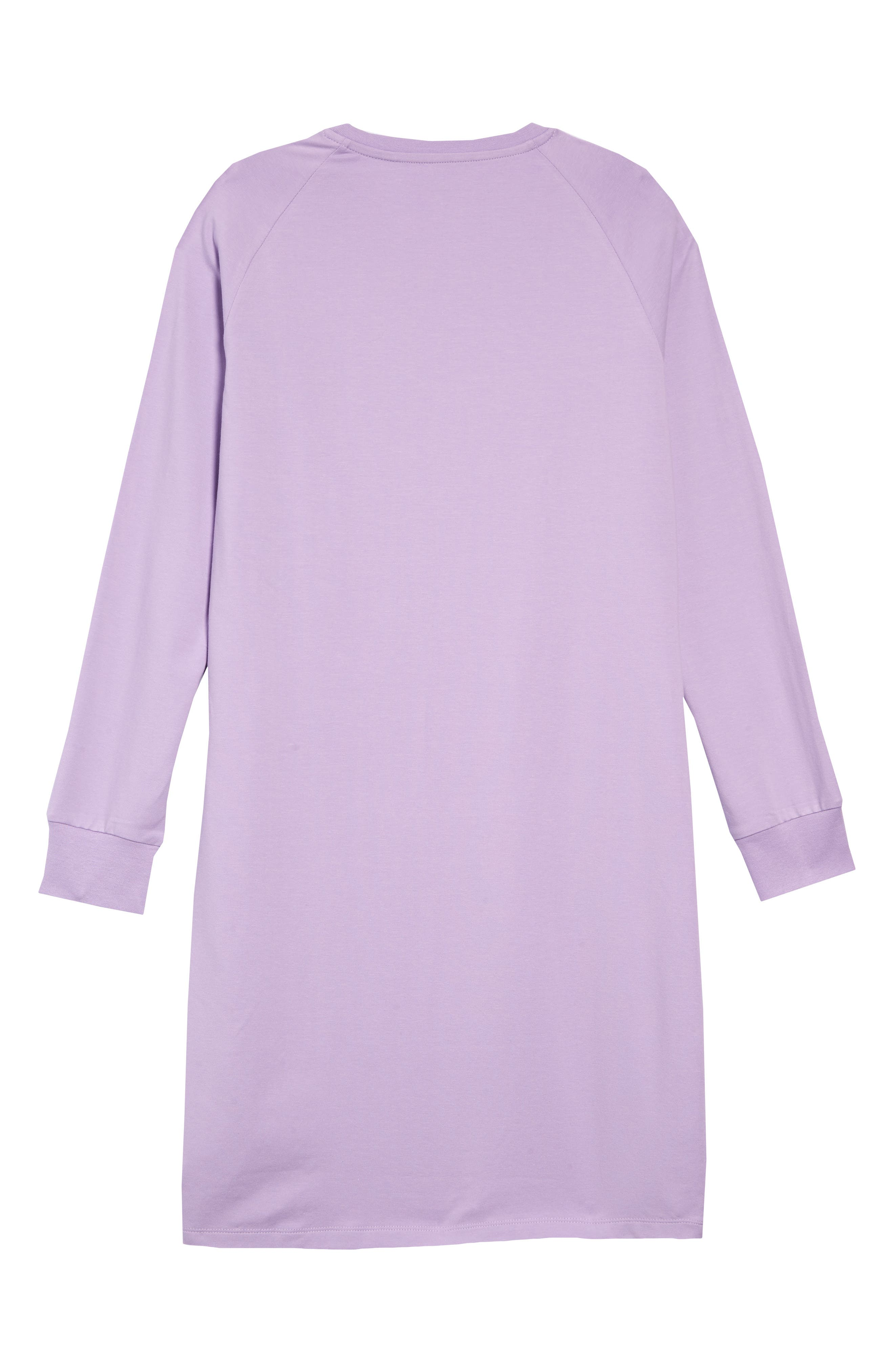 ,                             3-Stripes T-Shirt Dress,                             Alternate thumbnail 2, color,                             PURGLO/ WHITE