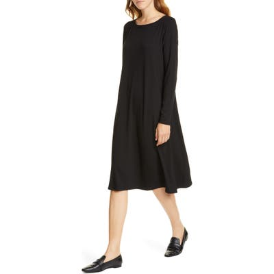 Eileen Fisher Bateau Neck Long Sleeve Tencel Lyocell Dress, Black