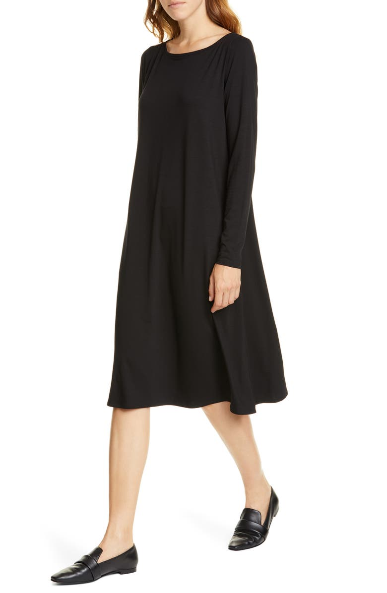EILEEN FISHER Bateau Neck Long Sleeve Tencel<sup>®</sup> Lyocell Dress, Main, color, 001