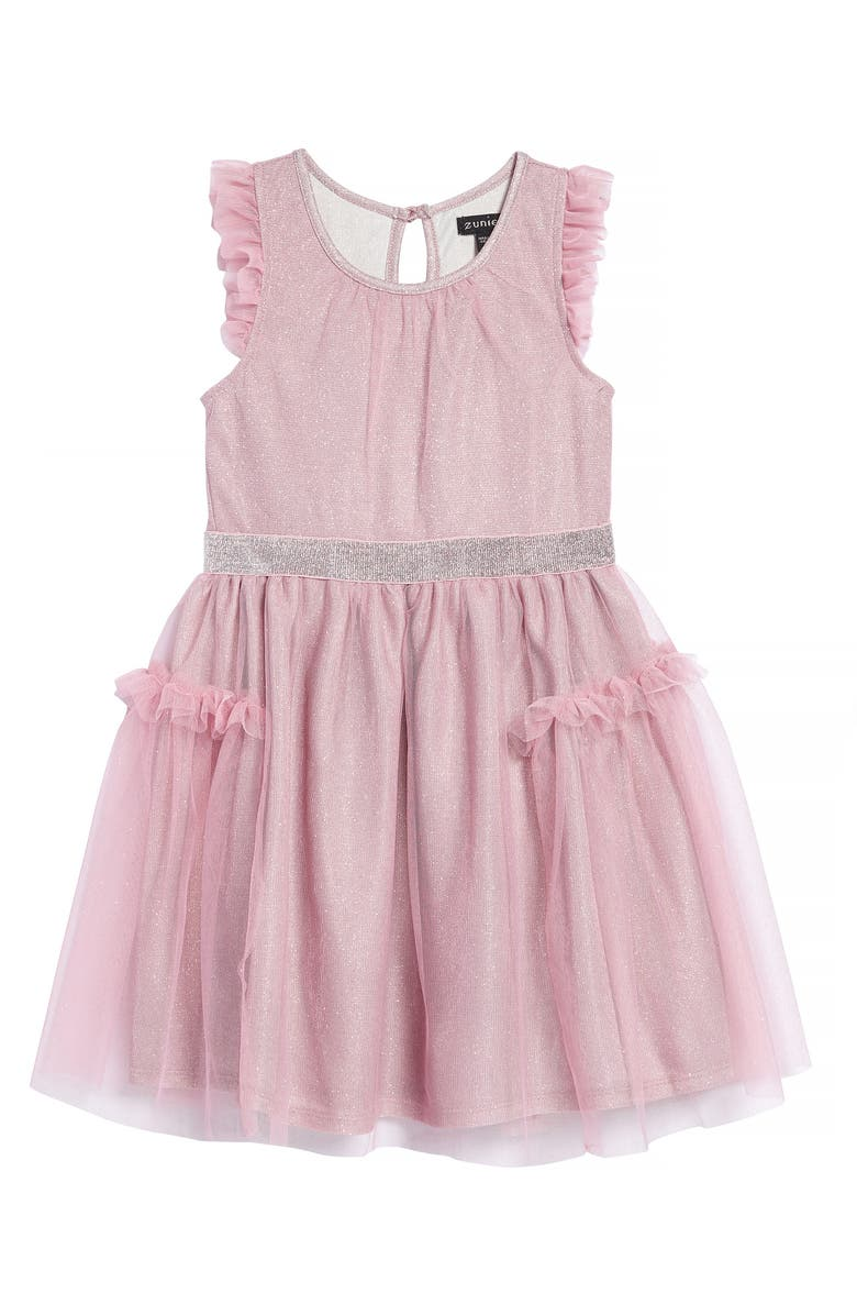 ZUNIE Glitter Flutter Sleeve Mesh Dress, Main, color, PINK