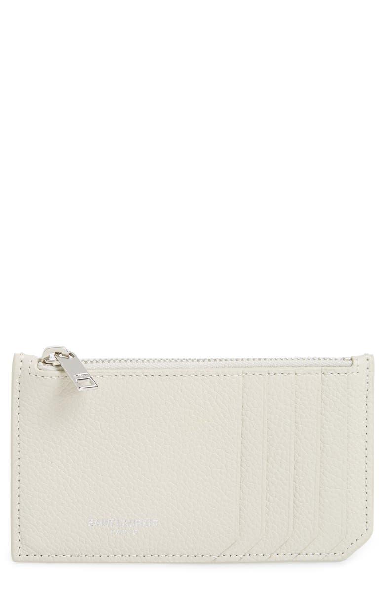 SAINT LAURENT Leather Zip Wallet, Main, color, CREMASOFT