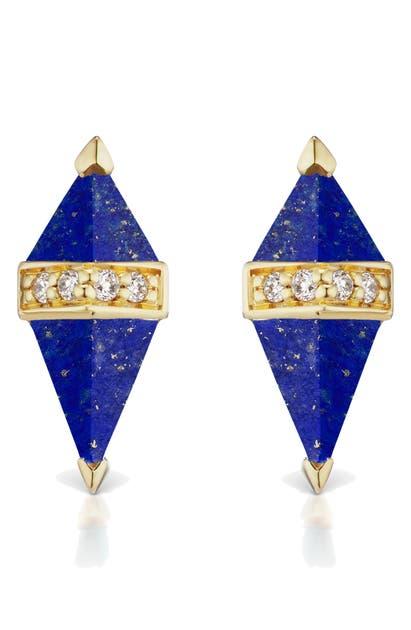 Sorellina Pietra Semiprecious Stone Stud Earrings In La Di 18kyg