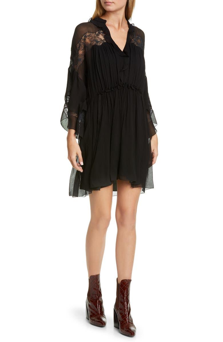 CHLOÉ Lace Panel Ruffle Long Sleeve Silk Minidress, Main, color, BLACK