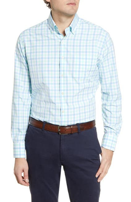 Image of Peter Millar Natural Touch Gingham Print Woven Regular Fit Shirt