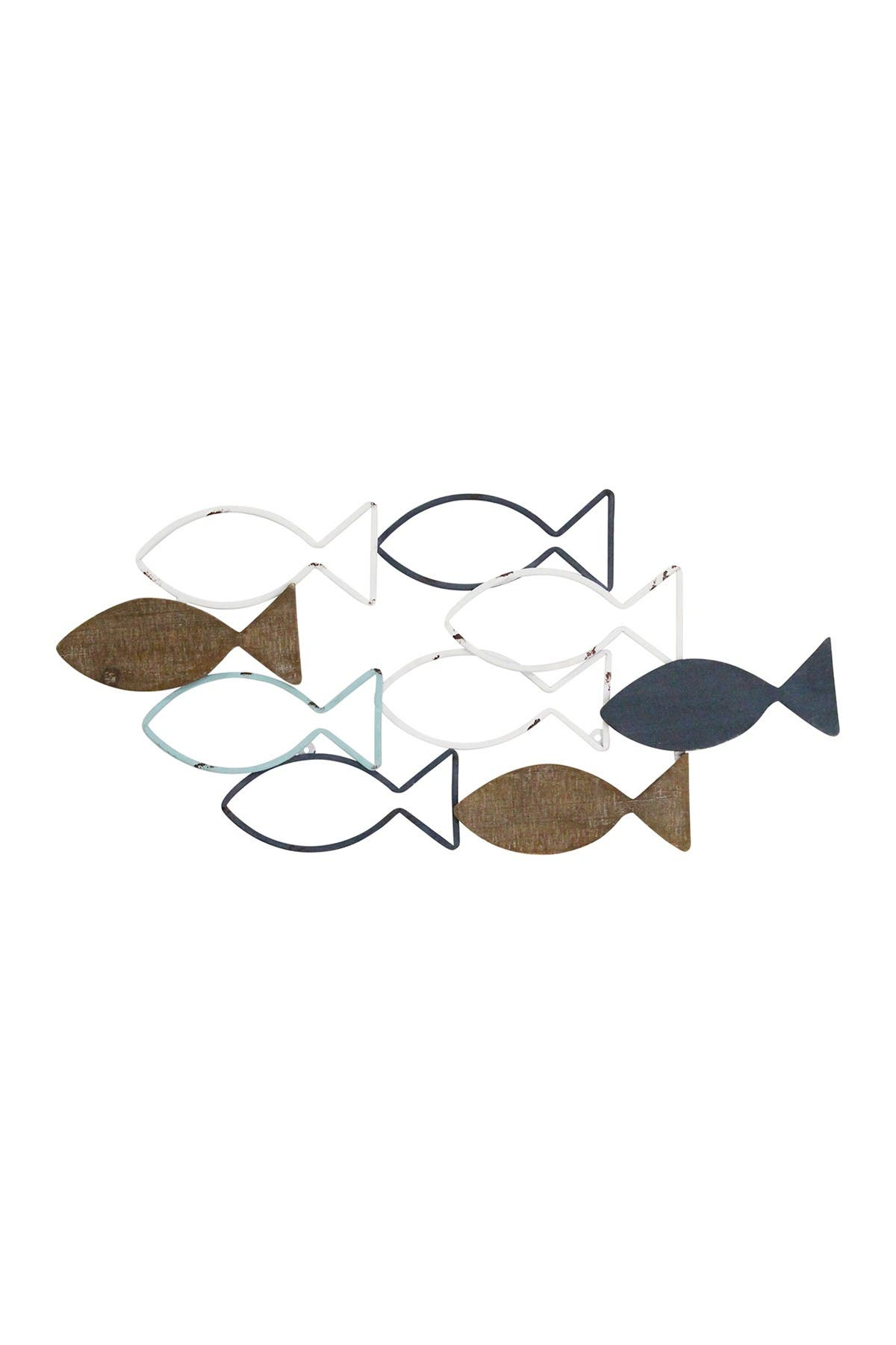 Image of Stratton Home Wood And Metal School Of Fish Wall Decor