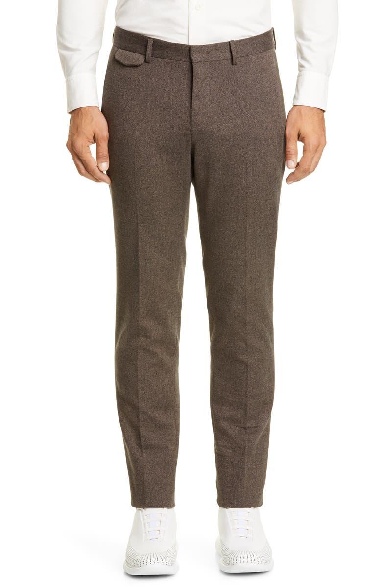 Z ZEGNA Flat Front Twill Stretch Cotton Dress Pants, Main, color, 212