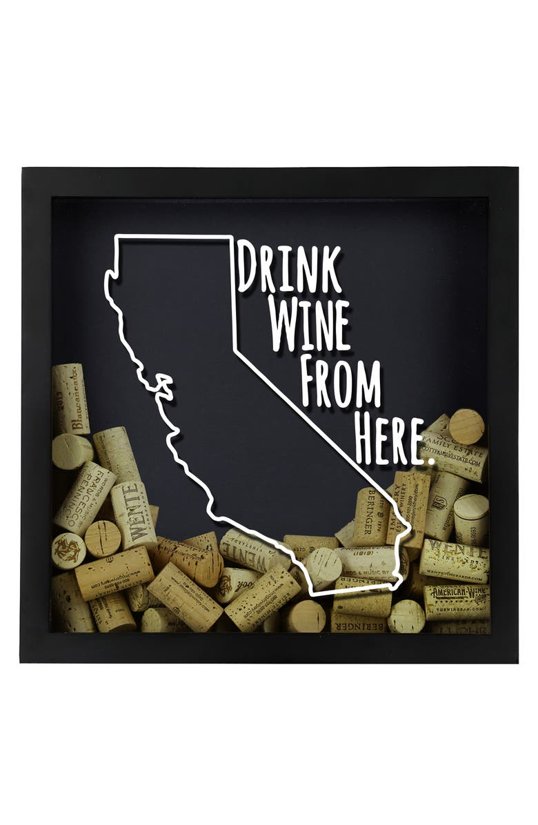 BEERCAPTRAP Drink Wine from Here State Shadow Box, Main, color, CALIFORNIA