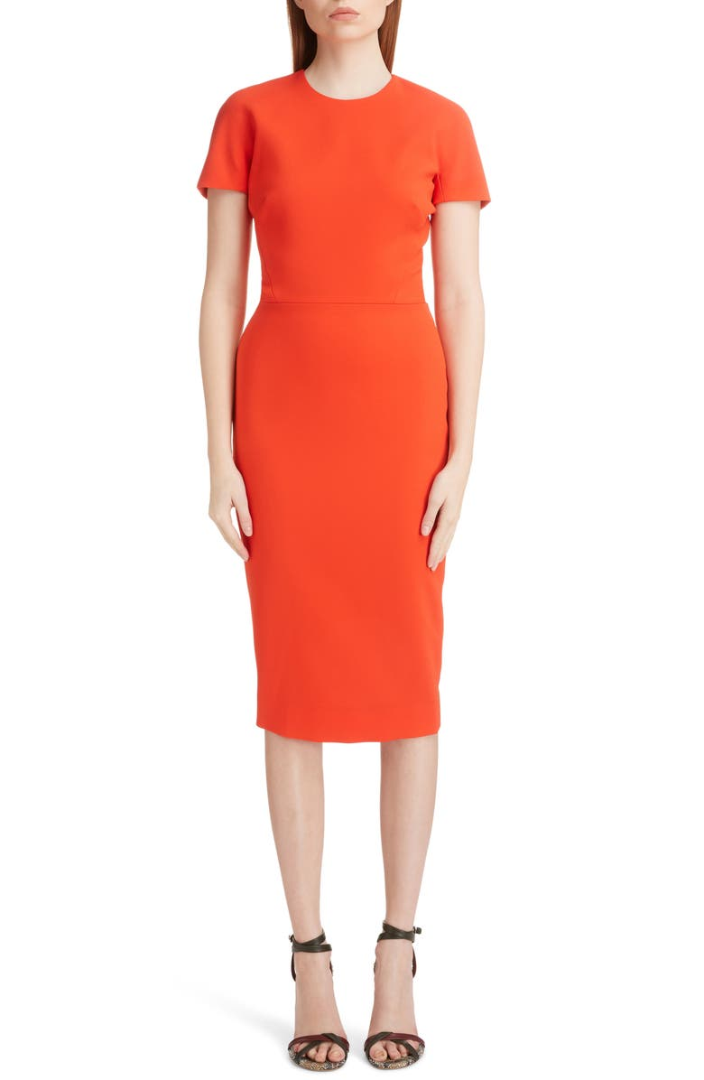 VICTORIA BECKHAM Wool Crepe Sheath Dress, Main, color, TOMATO