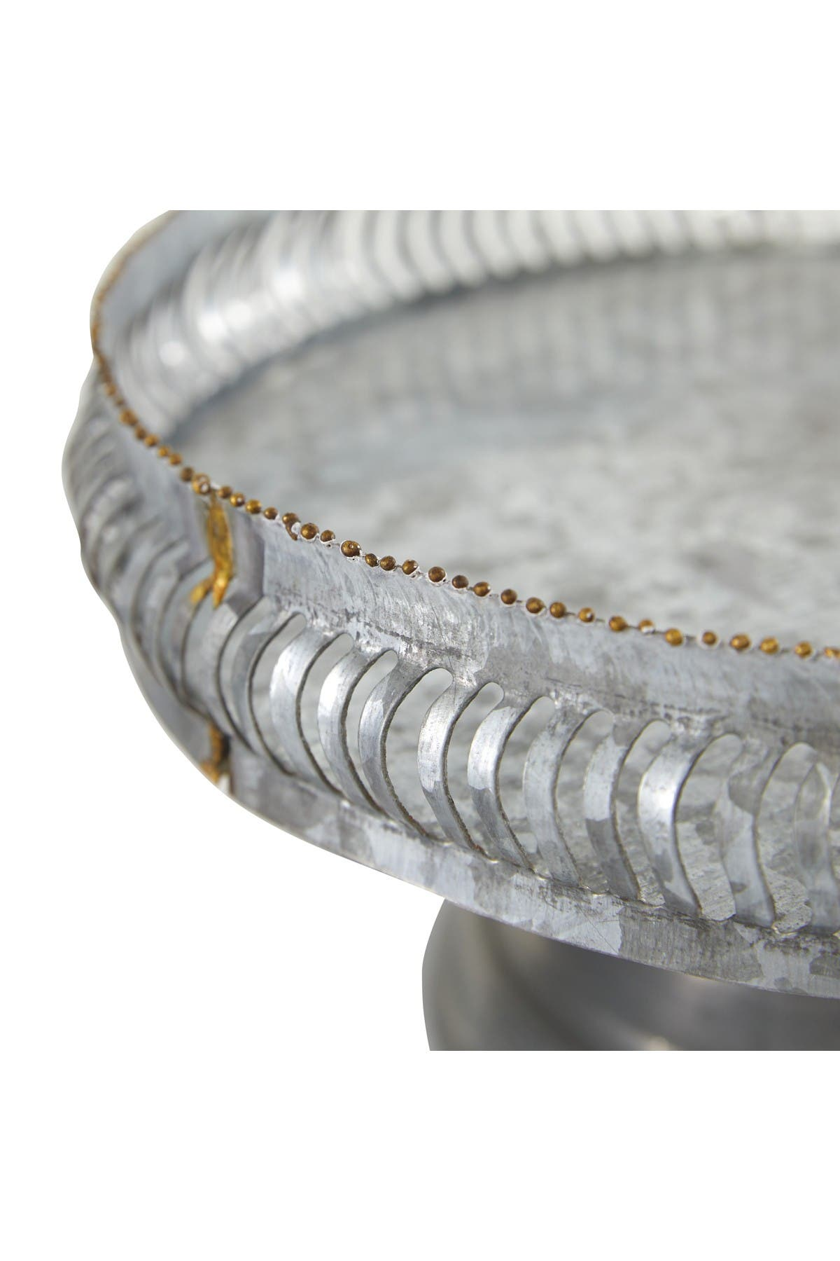 Image of Willow Row Grey Metal Farmhouse Cake Stand - Set of 2
