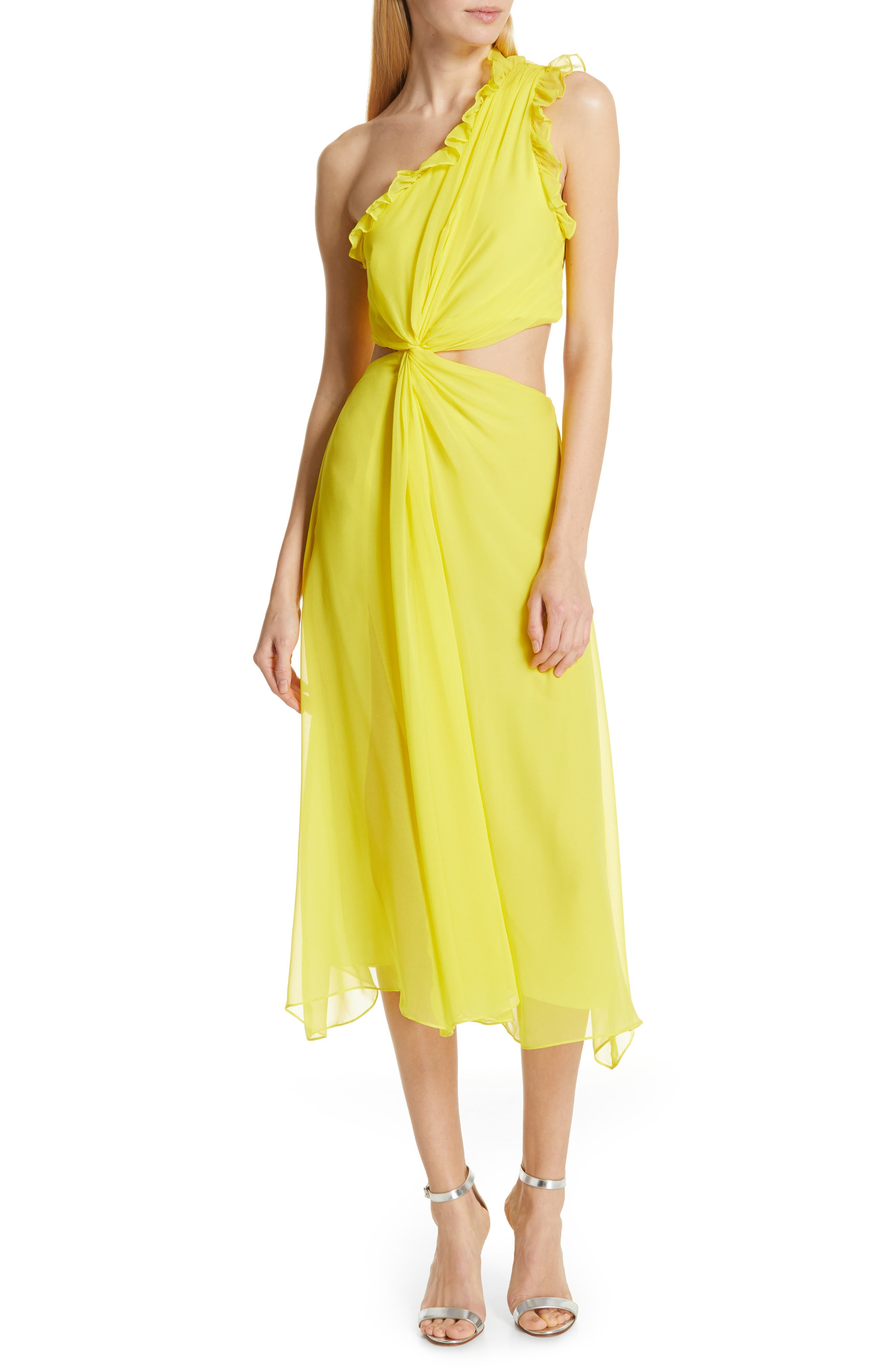 ,                             Corinne One-Shoulder Silk Dress,                             Main thumbnail 1, color,                             BLAZING YELLOW