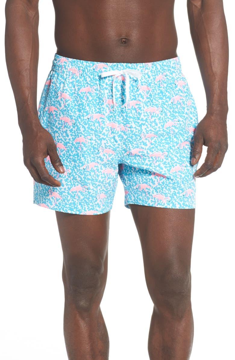 CHUBBIES Domingos Are for Flamingos Print Swim Trunks, Main, color, BRIGHT BLUE