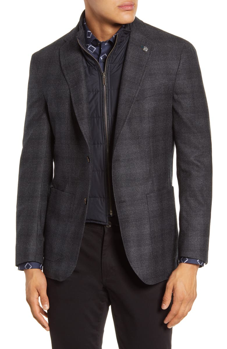TED BAKER LONDON Tucker Trim Fit Plaid Wool Hybrid Sport Coat, Main, color, GREY