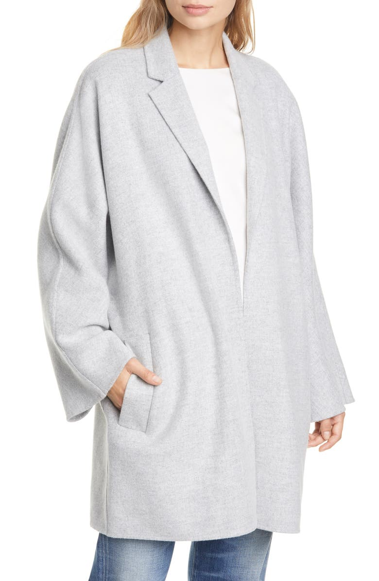CLUB MONACO Double Face Wrap Coat, Main, color, HEATHER GREY