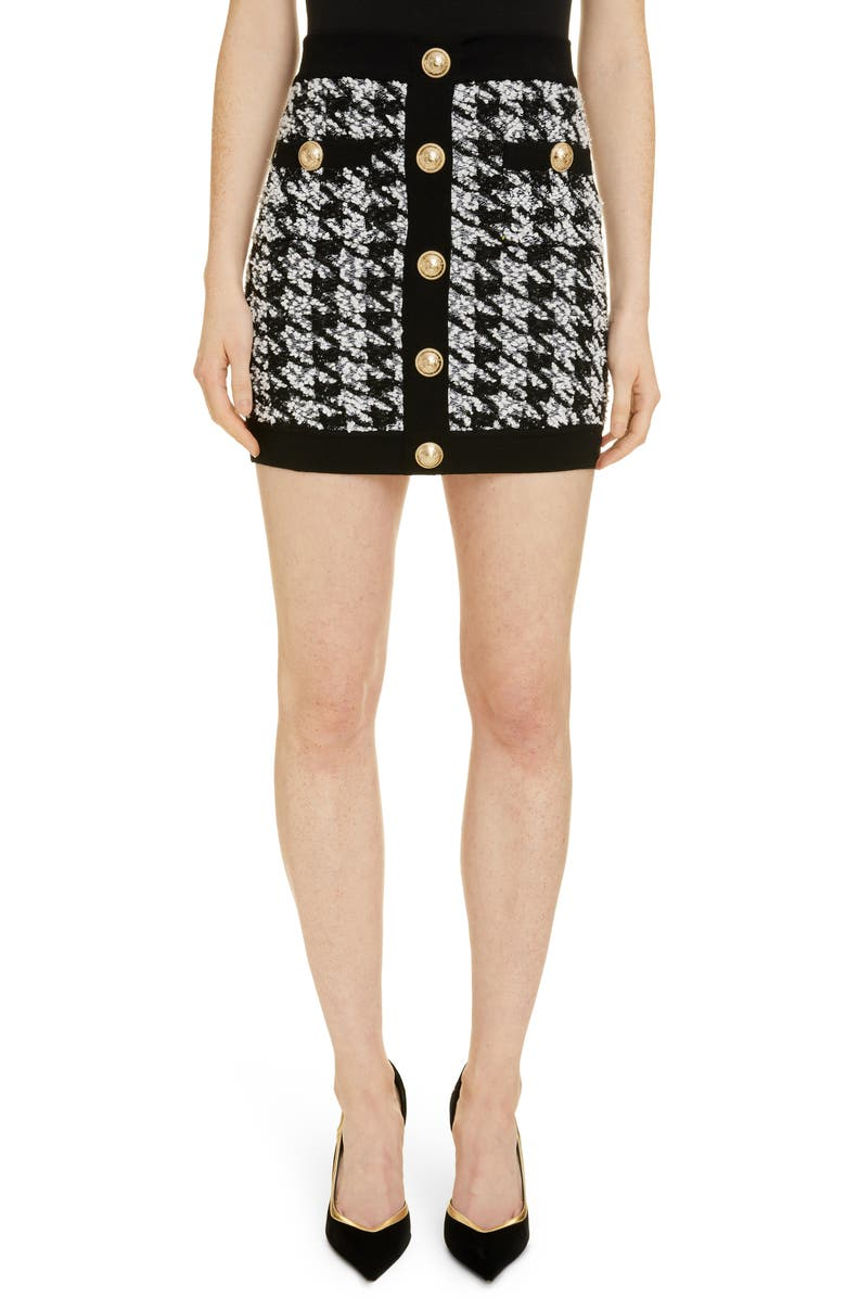 Houndstooth Tweed Miniskirt by Balmain