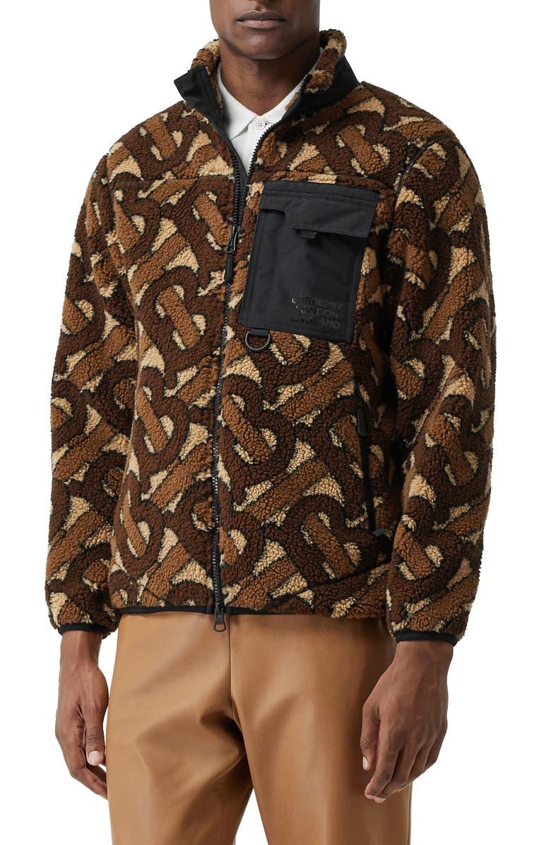 BURBERRY Southmead Monogram Fleece Jacket, Main, color, BROWN