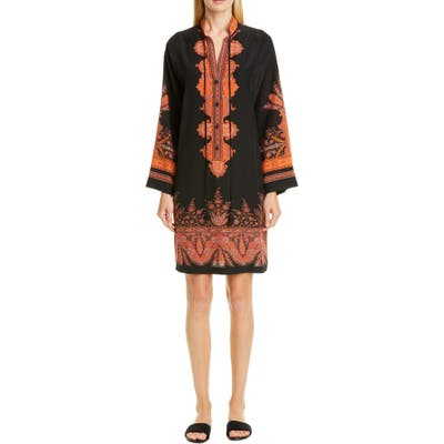 Etro Signature Paisley Long Sleeve Silk Dress, US / 42 IT - Black