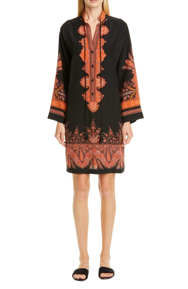 ETRO Signature Paisley Long Sleeve Silk Dress, Main, color, BLACK