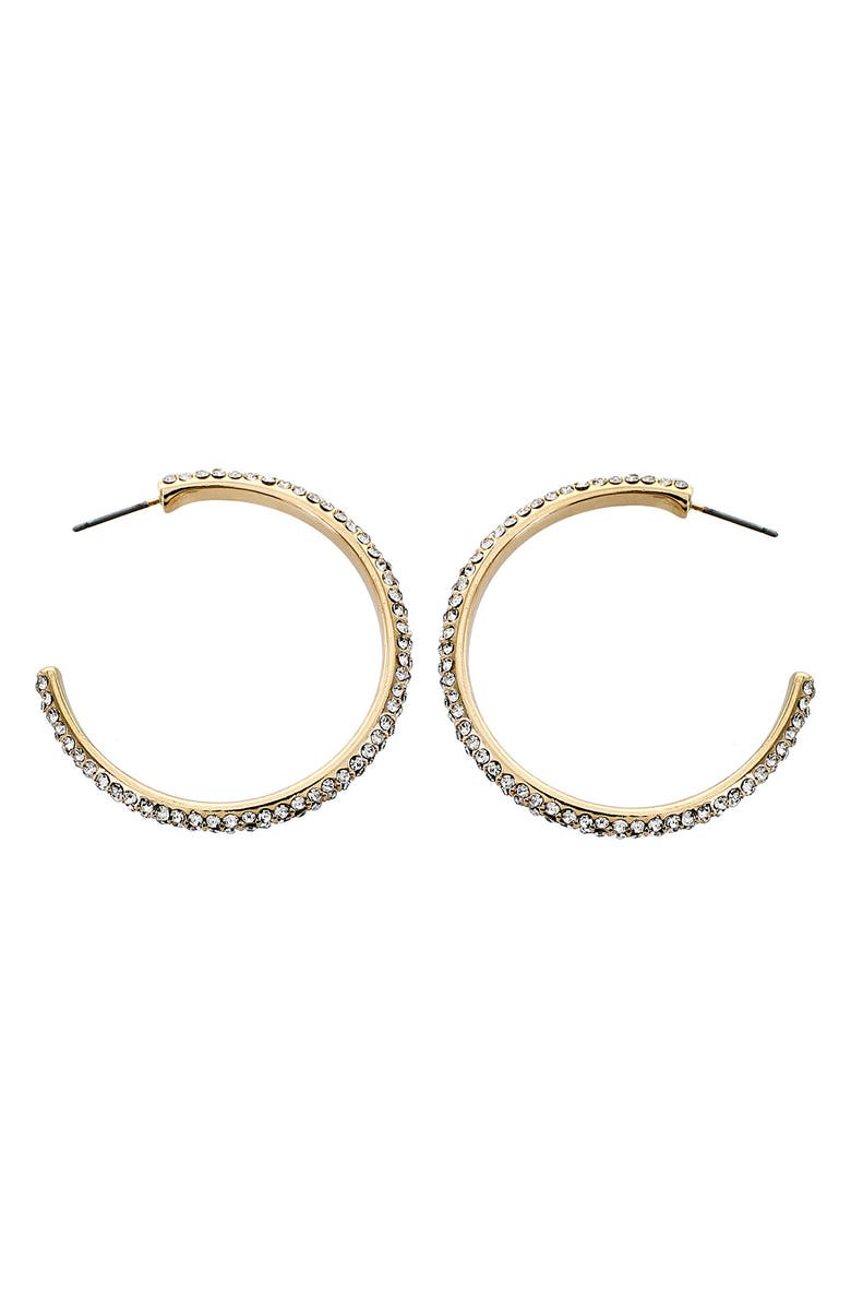 PANACEA Clear Crystal Hoop Earrings, Main, color, GOLD