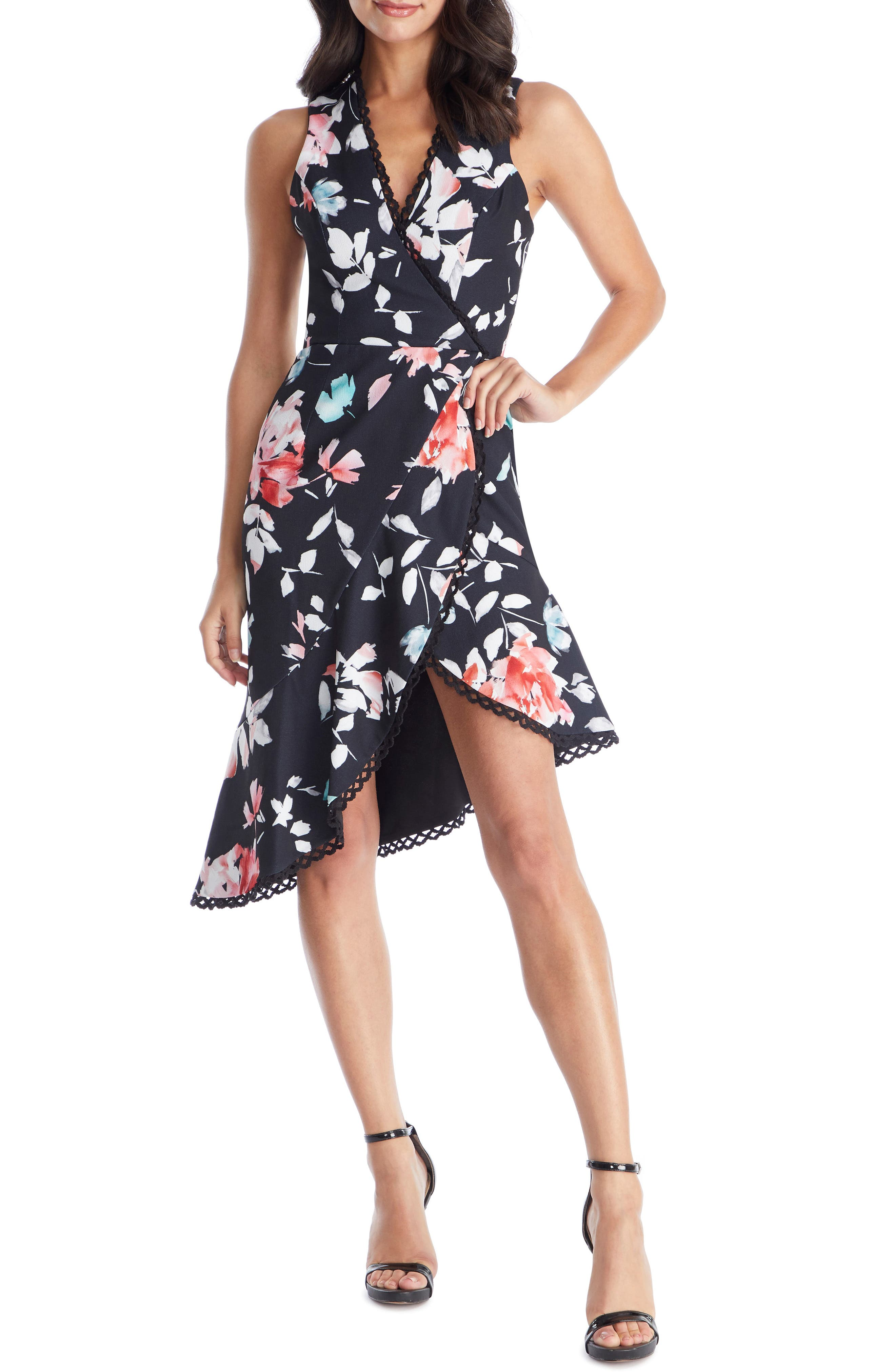 Dress The Population Bijou Floral Plunge Dress, Black