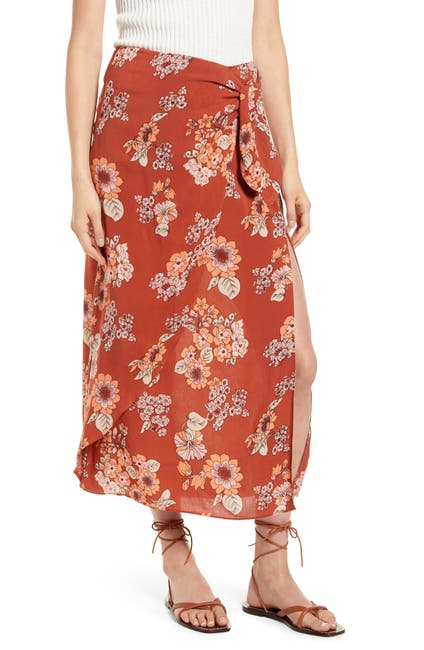 Image of Free People Sunray Sarong Floral Midi Skirt