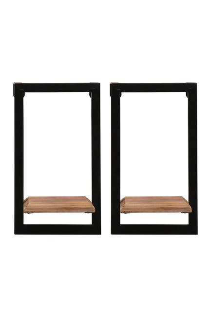 Image of Stratton Home Natural Wood/Black Mini Shelves