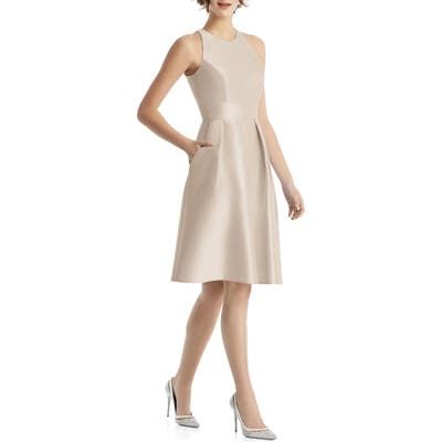 Alfred Sung High Neck Satin Cocktail Dress, Beige
