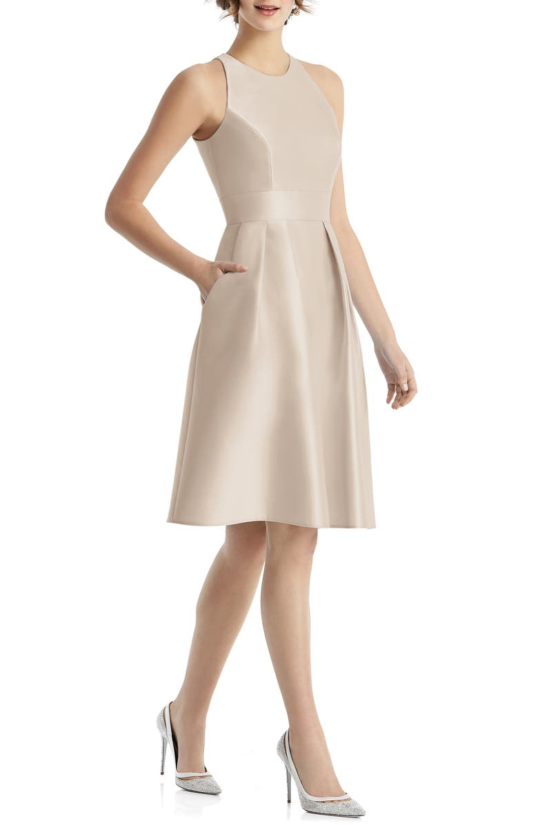 ALFRED SUNG High Neck Satin Cocktail Dress, Main, color, CAMEO