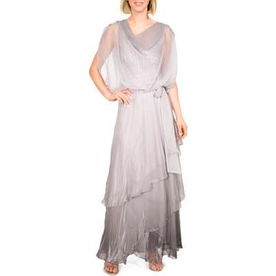 Komarov Cowl Neck Popover Gown, Grey