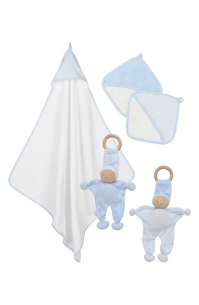 UNDER THE NILE 5-Piece Organic Egyptian Cotton Bath & Teething Gift Set, Main, color, BLUE