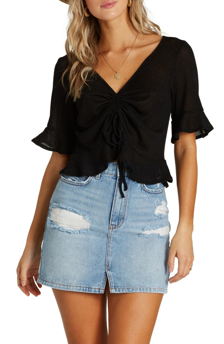 BILLABONG Sittin Pretty Tie Ruched Crop Top, Main, color, BLACK