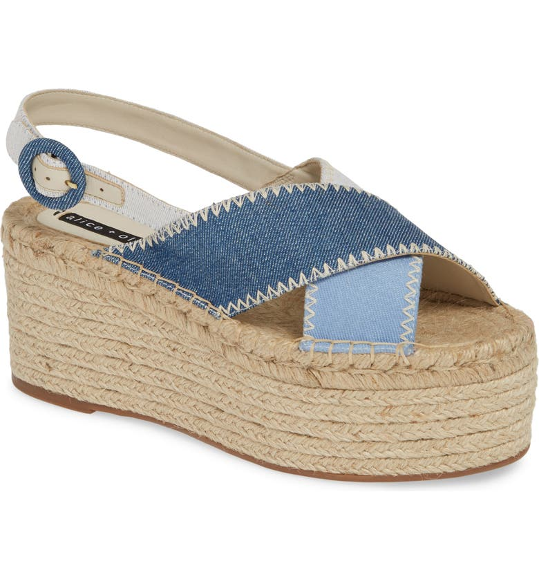 ALICE + OLIVIA Fayen Platform Sandal, Main, color, DARK BLUE/ LIGHT BLUE/ IVORY