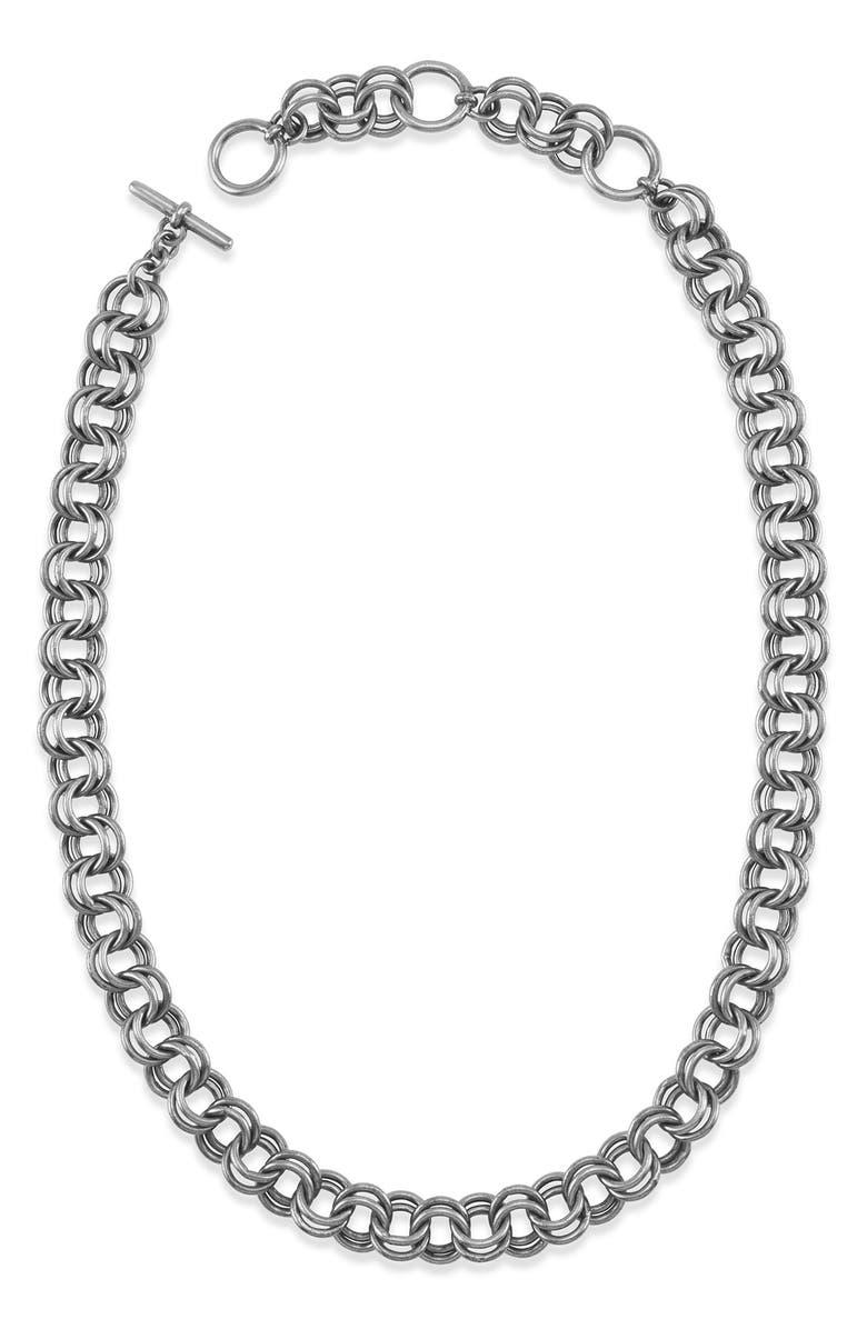 KENDRA SCOTT Double Link Chain Necklace, Main, color, VIN SLV METAL